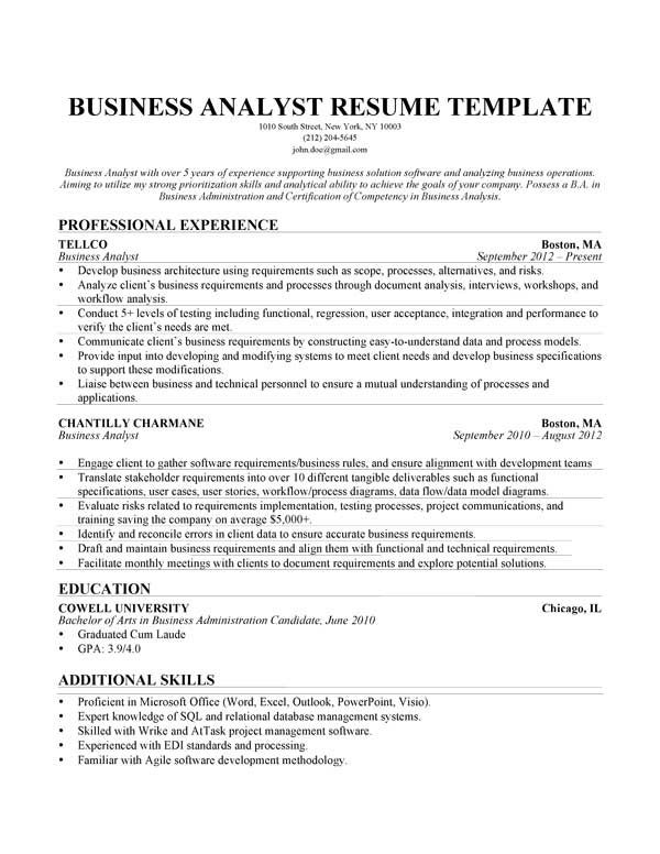 Business Analyst Resume Sample Business Analyst Resume Business