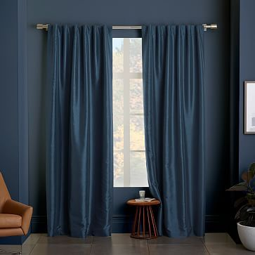 Cotton Canvas Scribble Lattice Curtain, Set of 2, Midnight, 48\