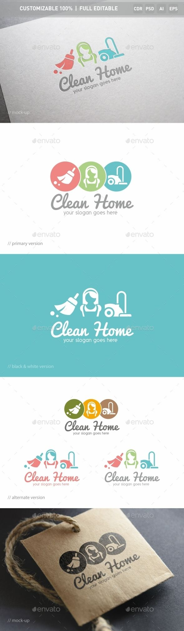 Clean Home Logo Template design logotype Download http