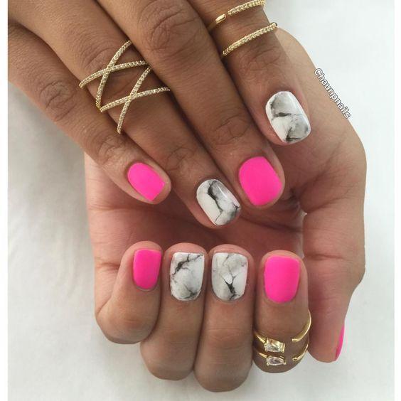 Unha De Marmore Branco E Preto Rosa Marble Nails Gel Nails