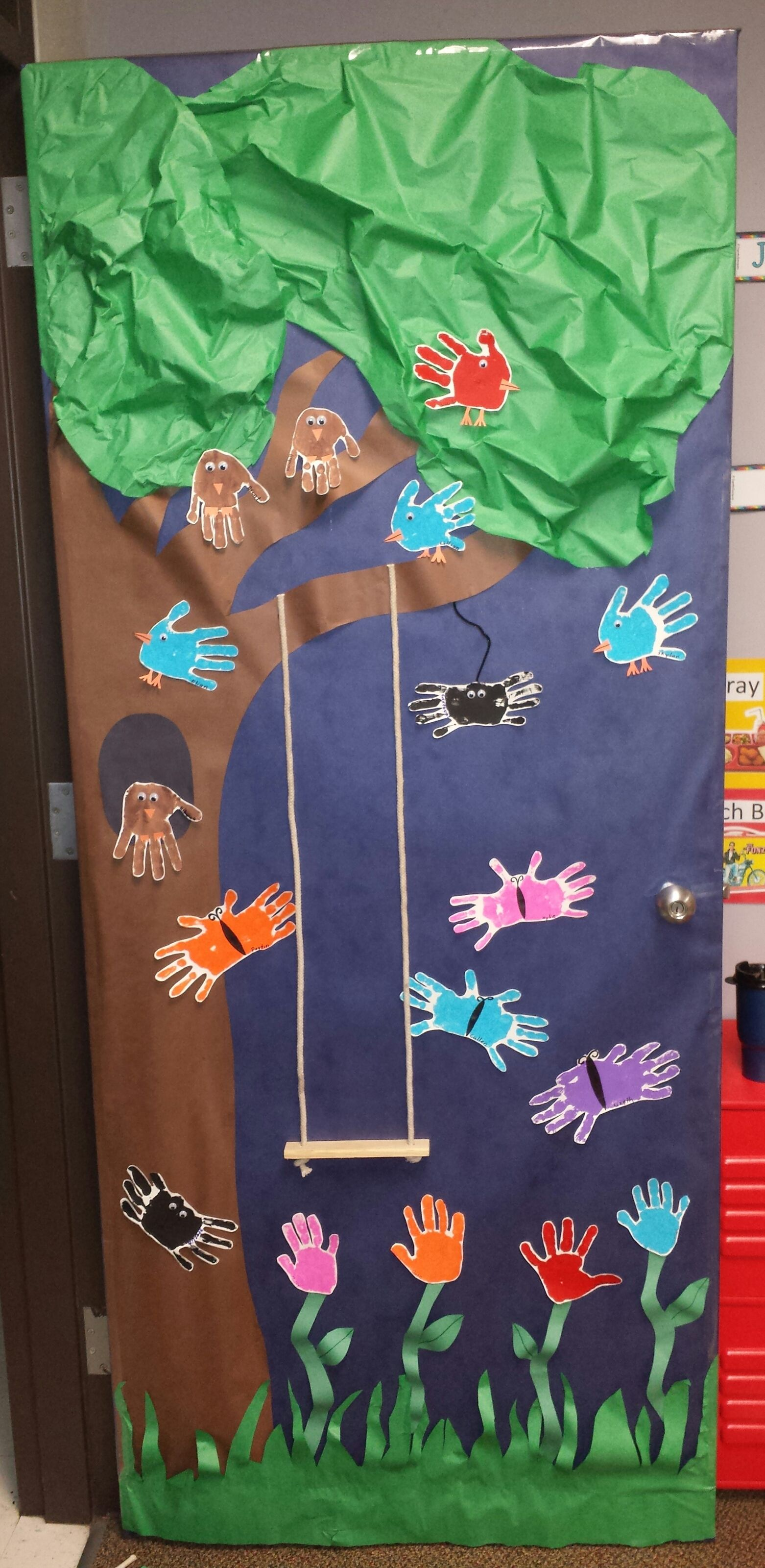 Swing into spring classroom door decoration little learners pinterest classroom door - Spring door decorations for school ...