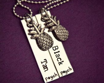 """Psych Fan """"Black and Tan"""" Necklace Set - Hand Stamped Stainless Steel with Pineapple Charms - Shawn and Gus Quotes - Best Friends"""