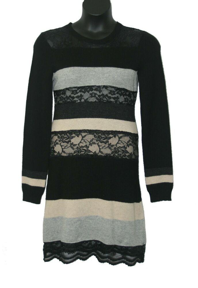 b87ddaf008a Gianni Bini Black Grey Sweater Dress Medium M Long Sleeve Lace Inset NWT   GianniBini  SweaterDress  fashion  style