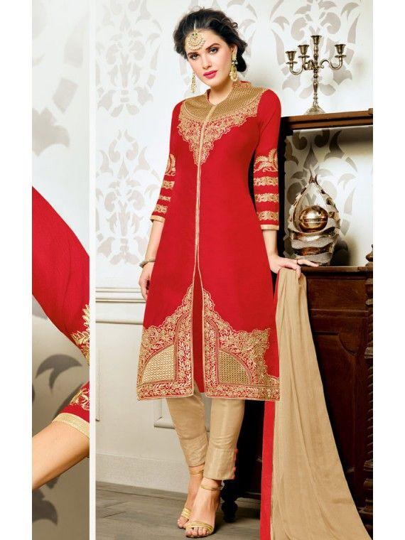11af84af6c Magic Cherry Red and Golden Salwar Kameez | Beautiful Designer Party ...