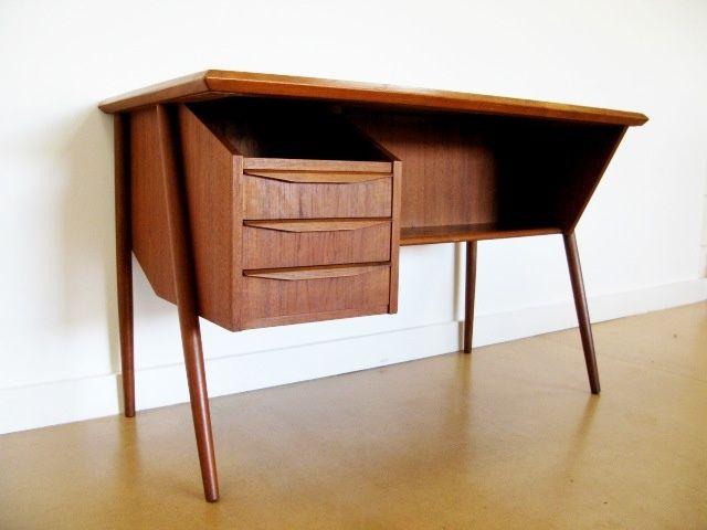 Atomic Teak Desk In The Mid Century Danish Style