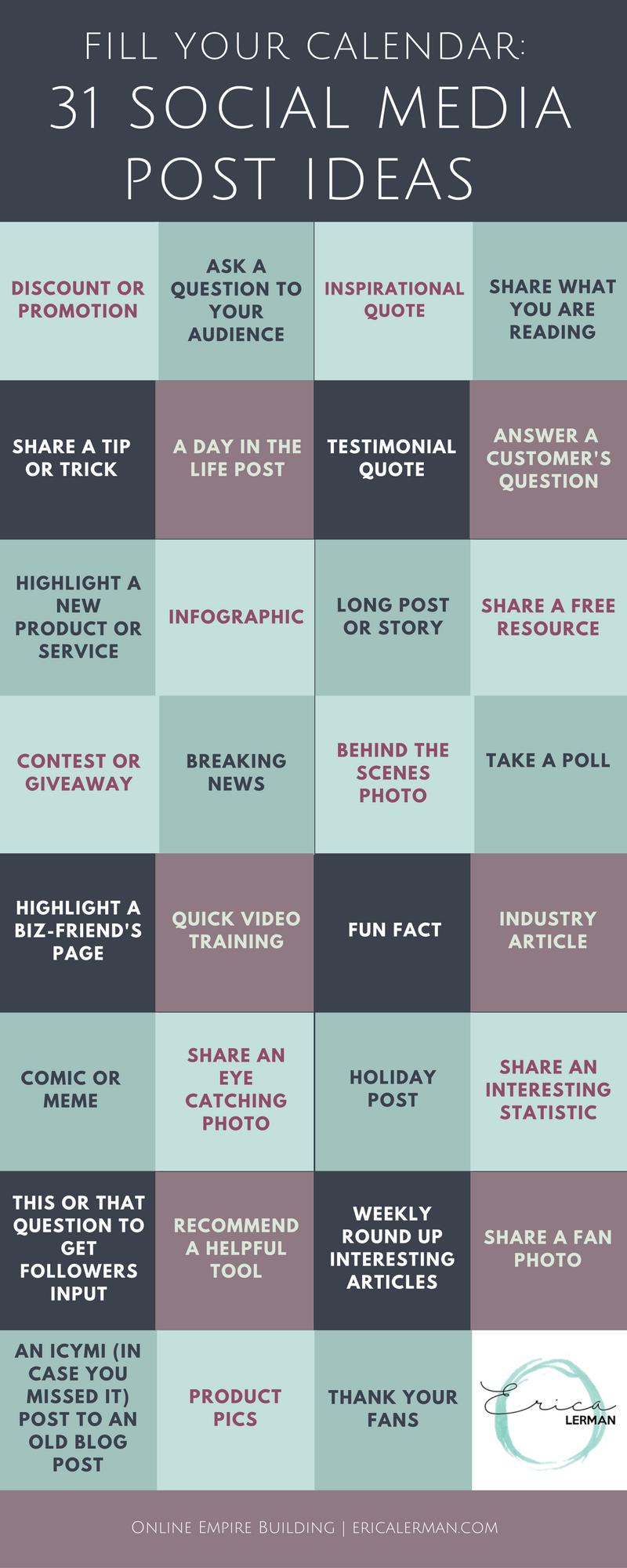 fill your social media calendar with 31 post ideas | marketing ideas