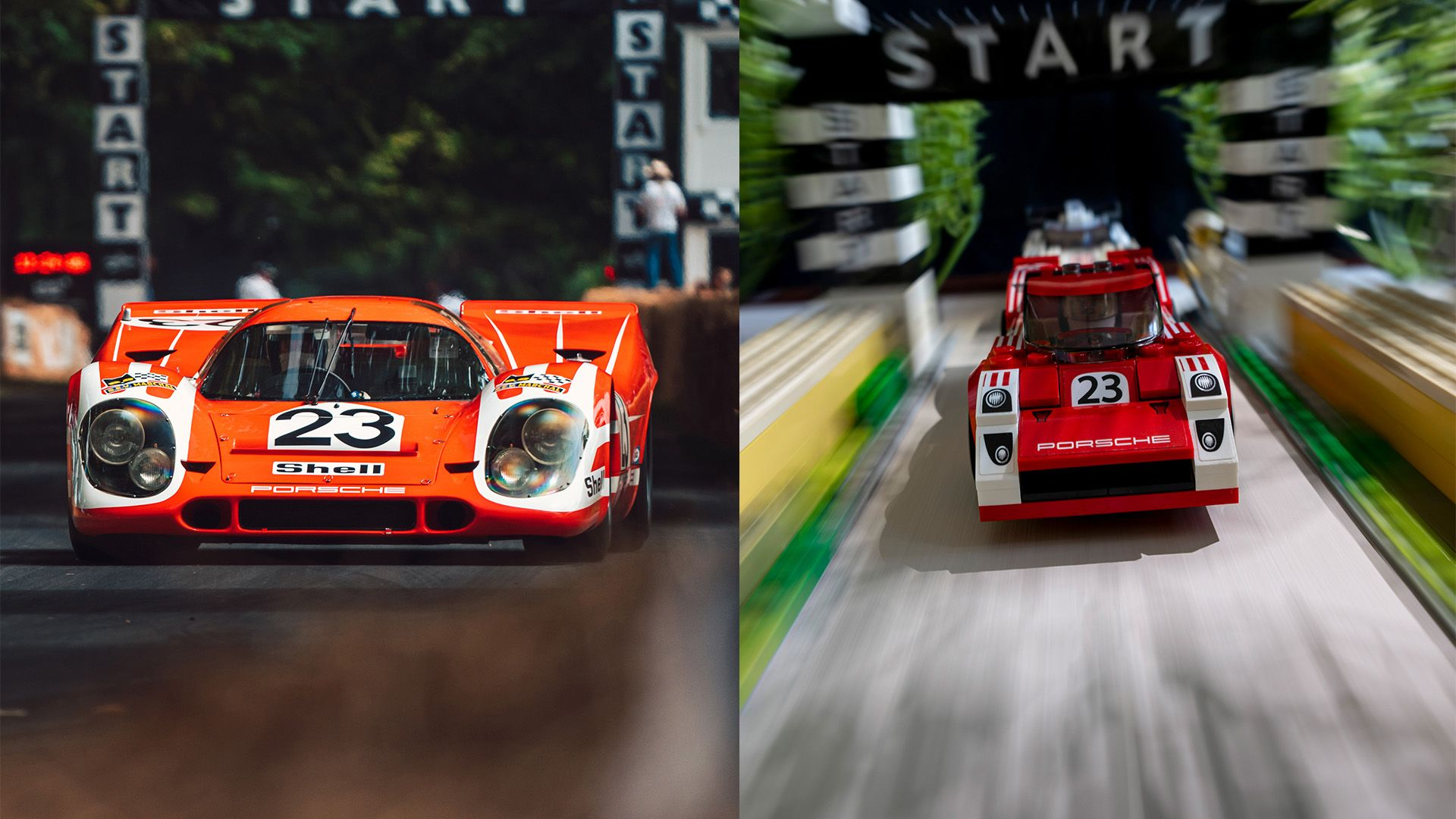 Iconic Porsche road and racing photos recreated with