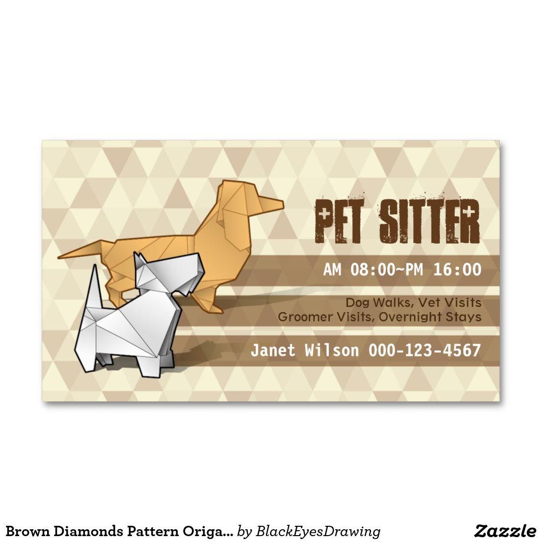 Brown Diamonds Pattern Origami Dogs Pet Sitting Business Card | Pet ...