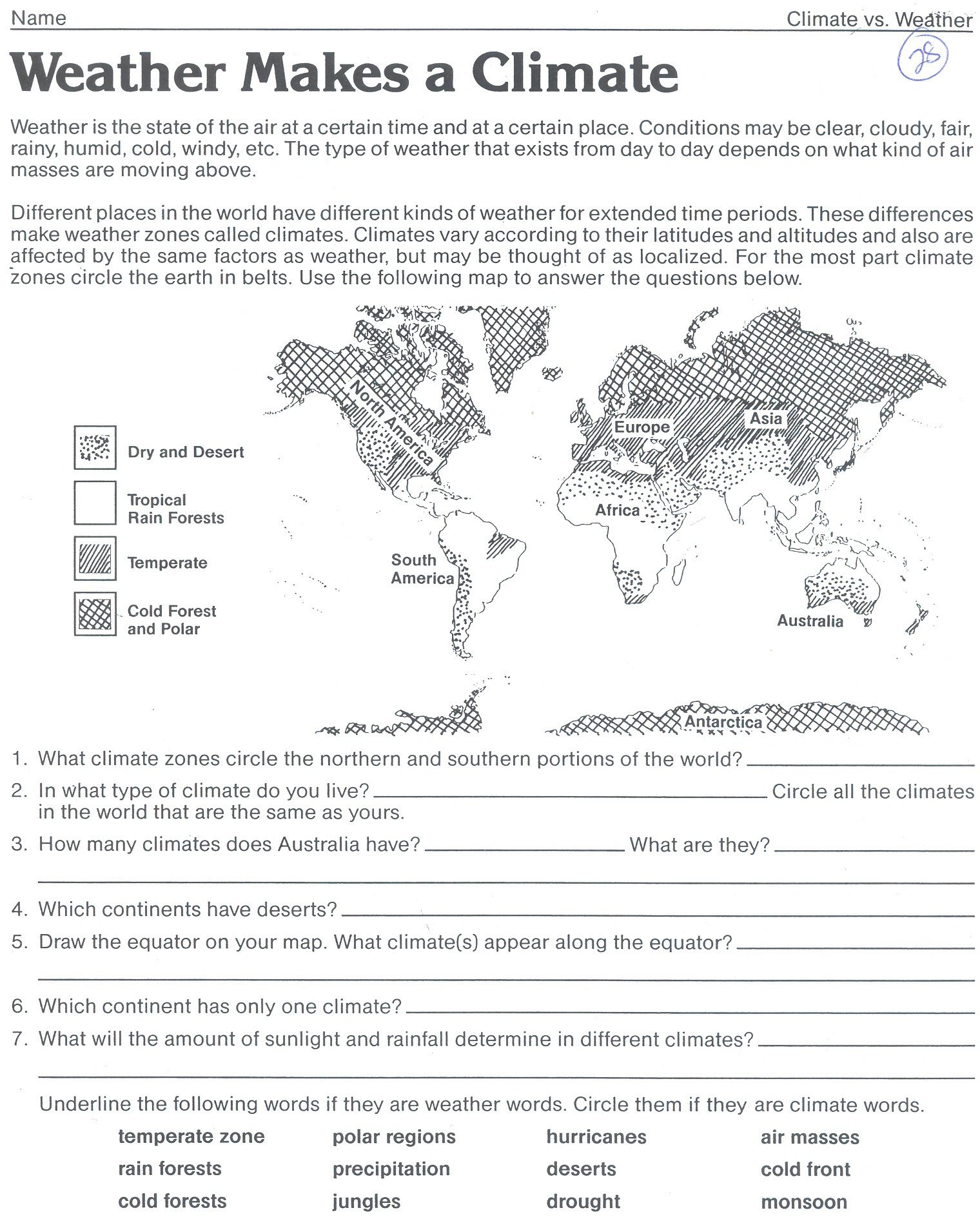 Weather makes a climate worksheet Weather worksheets