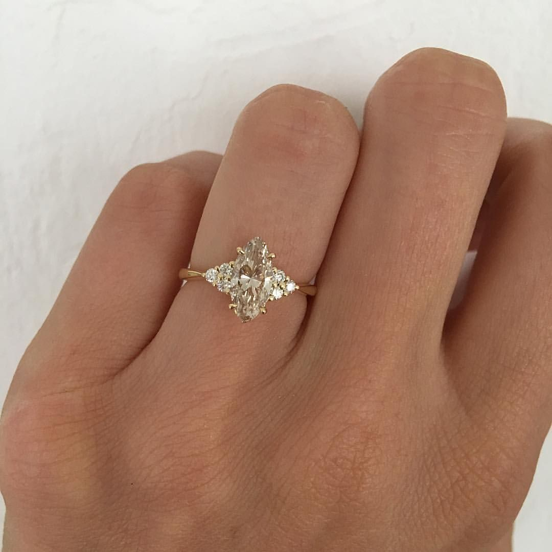 Cw Bespoke A Very Rare Champagne Coloured Marquise Diamond Set In Yellow Gold With Round White Diamonds Colored Diamond Rings Champagne Color Diamond White