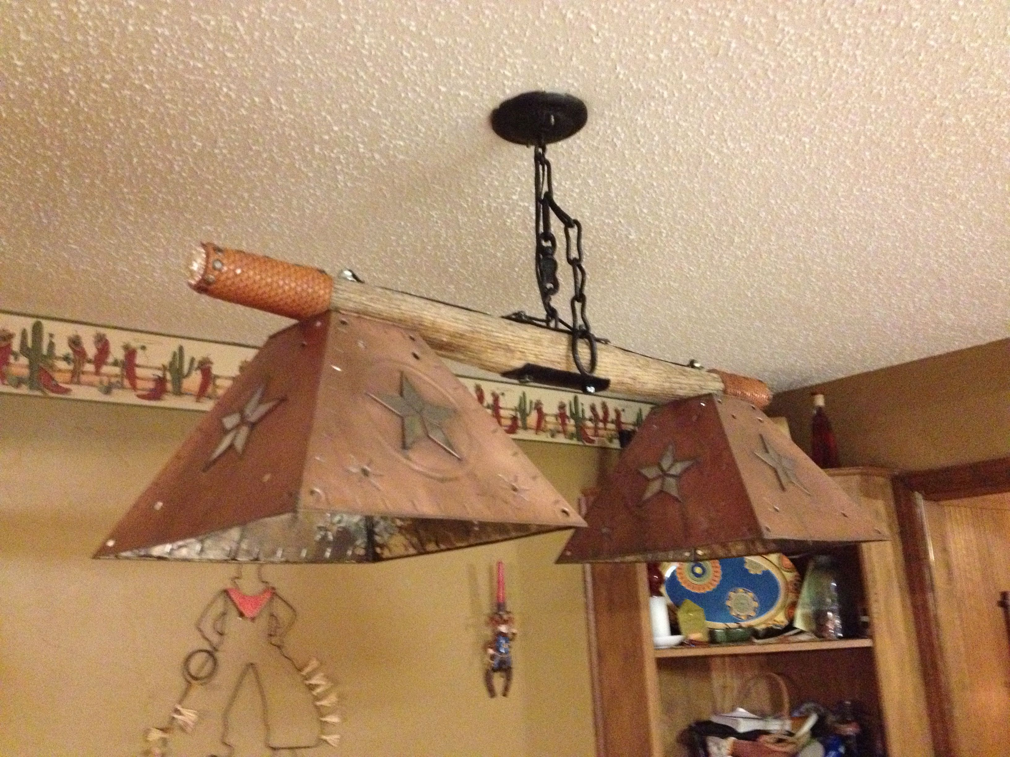 Over The Bar Light Made From Neck Yoke, Leather, Conchos,