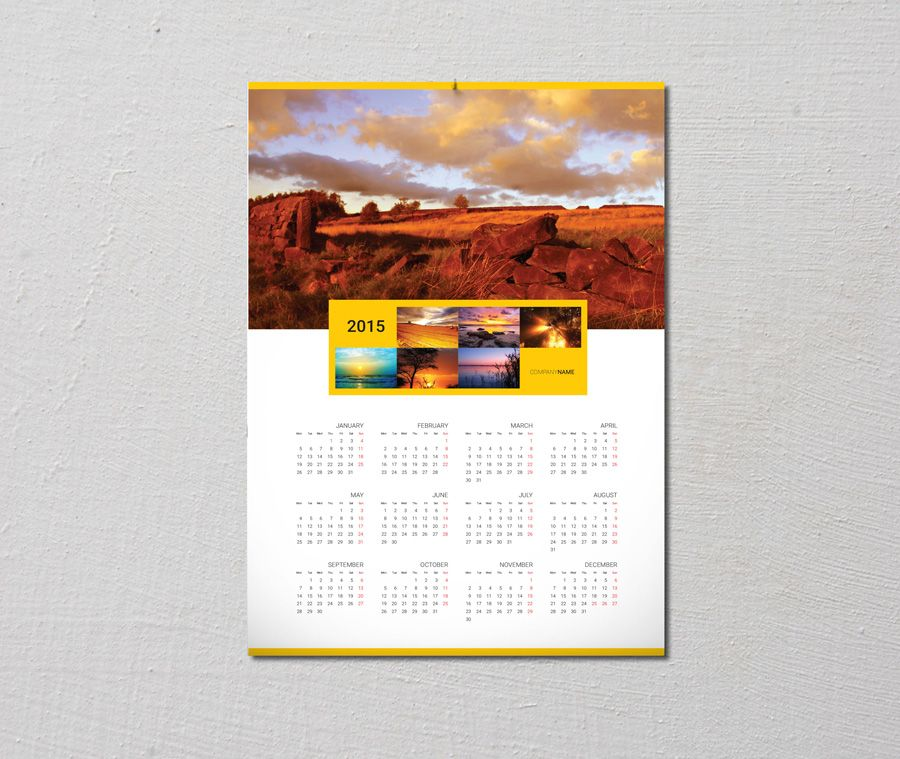 single page calendar 2015