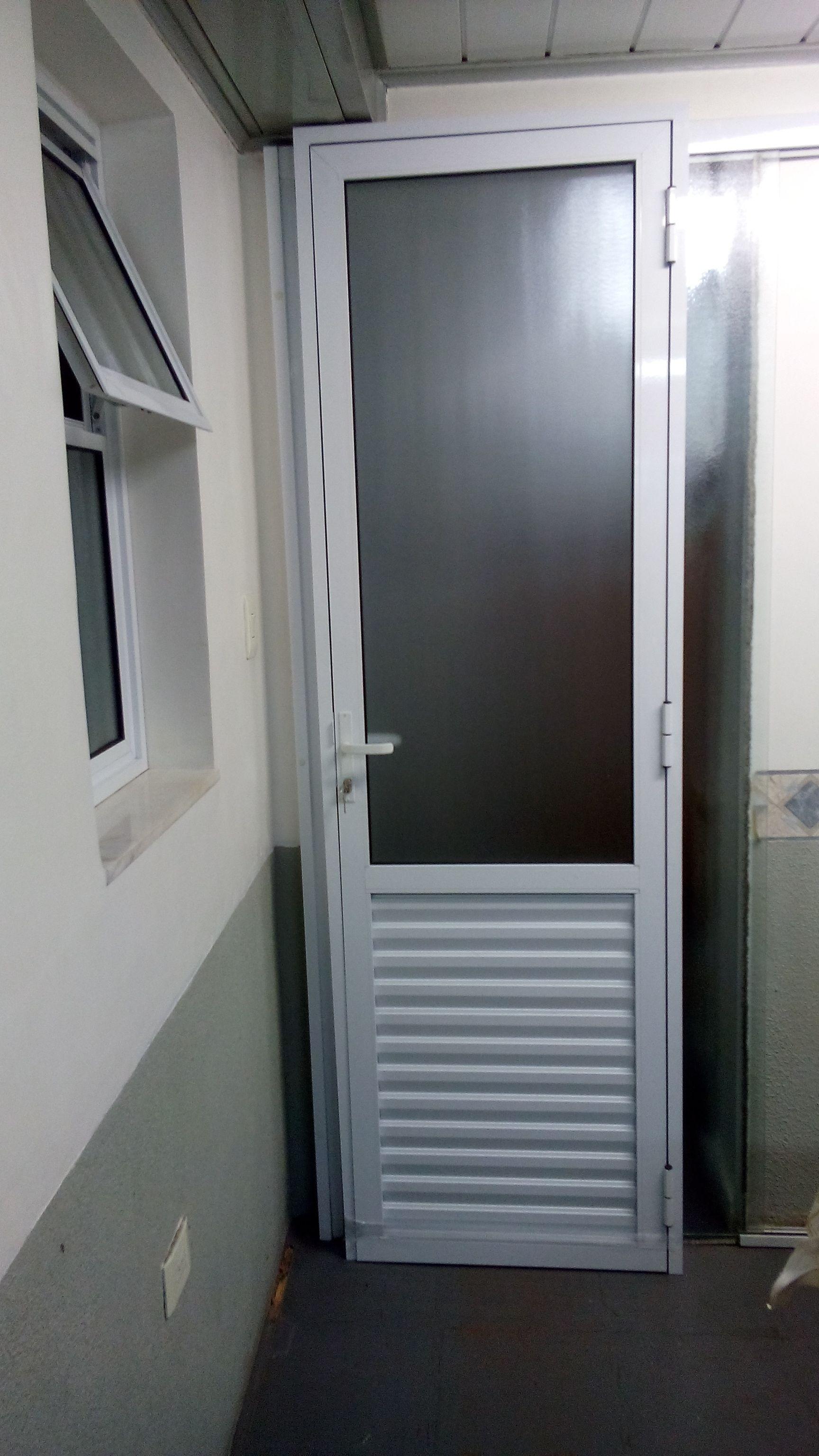 Porta De Aluminio Branco Porta De Abrir Em Vidro Com Veneziana  ~ Porta Sanfonada Para Cozinha