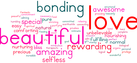 We asked you to describe in one word what breastfeeding means to you...and this is what you said! #baby #breastfeeding #bamboobies