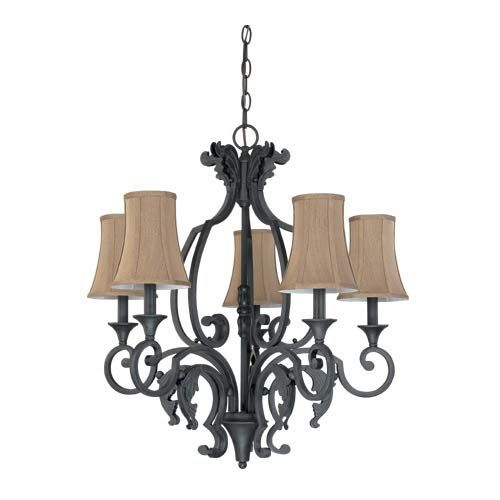 Lourdes Painted Bronze Five-Light Chandelier