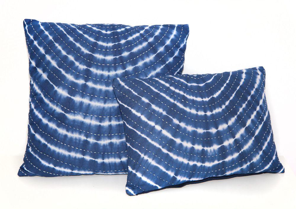 Indigo Tie Dye Pillow with Kantha Stitch by Vagabond Vintage