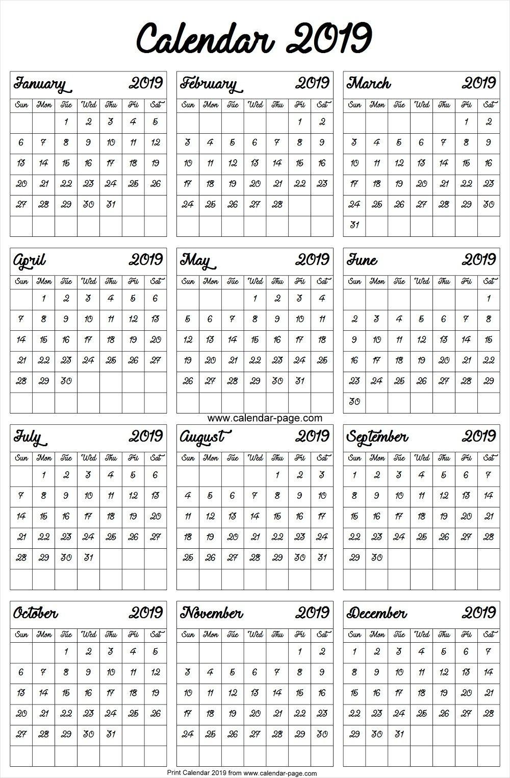 A4 2019 Year Calendar Blank Calendar 2019 Image Calendrier