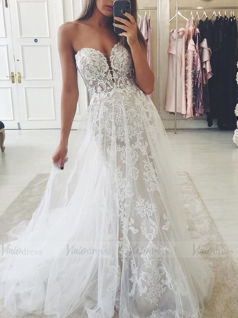 Strapless Bohemian Lace Mermaid Wedding Dresses With Tulle Overlay Vw1322 W Victorian Wedding Dress Wedding Dresses Strapless Stunning Wedding Guest Dresses [ 1024 x 768 Pixel ]