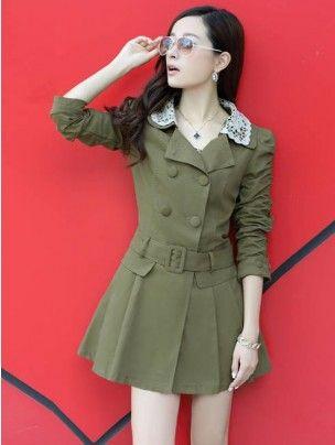 Lapel Collared Winter Long Coat - Buy Trench Coats Online in India ...