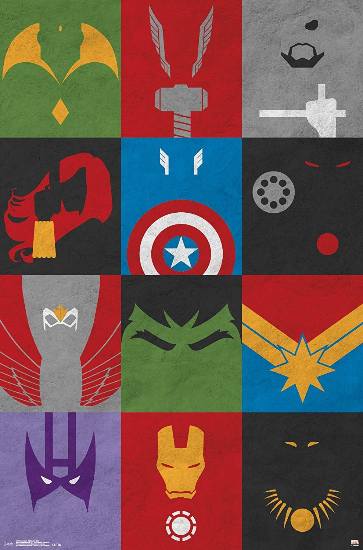 Avengers Minimalist Grid Wall Poster 22 375 X 34 Mstiteli Minimalistskij Sajt Printy Dlya Plakatov