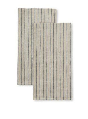 60% OFF Found Object Le Havre Set of 2 Linen/Cotton Kitchen Towels (Blue/Khaki)