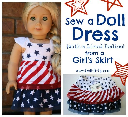 A Doll Dress {with a lined bodice} from a Girl\'s Skirt