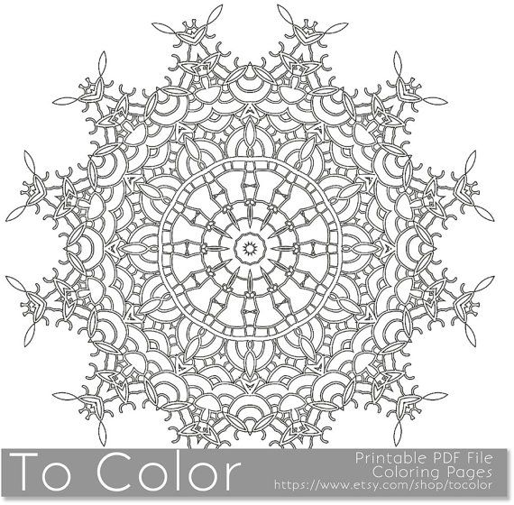 Printable Coloring Pages for Adults, Mandala Snowflake Pattern ...