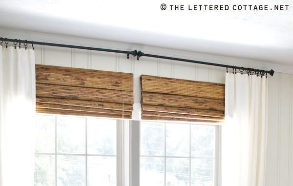 Add A Bamboo Shade That Is Hung Closer To The Curtain Rod Than The