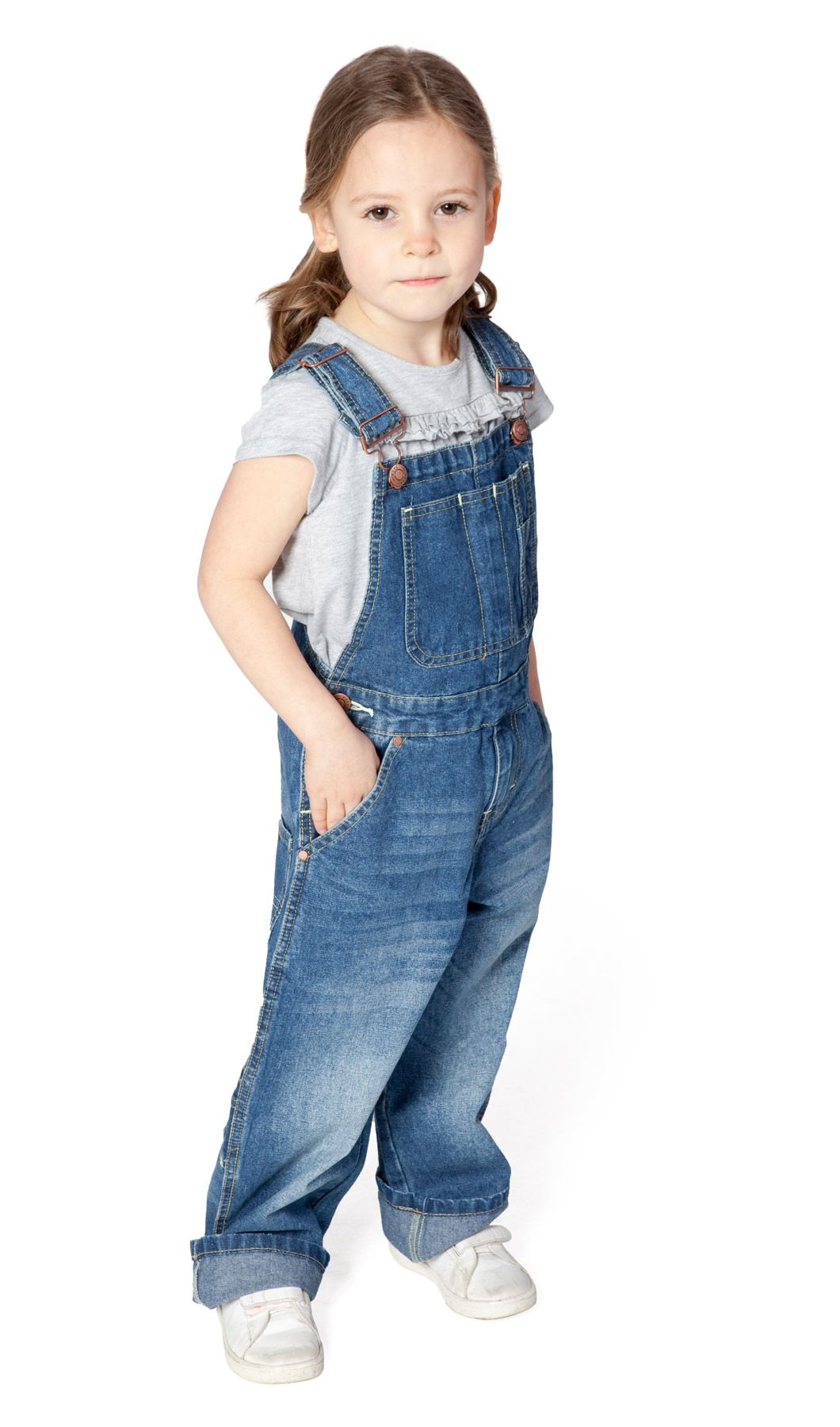 USKEES Girls Dungarees (Stonewash) Age 4-8 Could be used ...