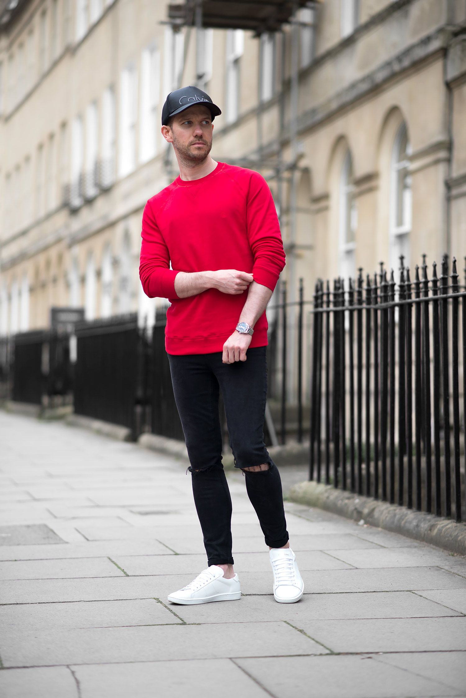 Tom Cridland Red Sweatshirt And Black Skinny Jeans Outfit | Your ...