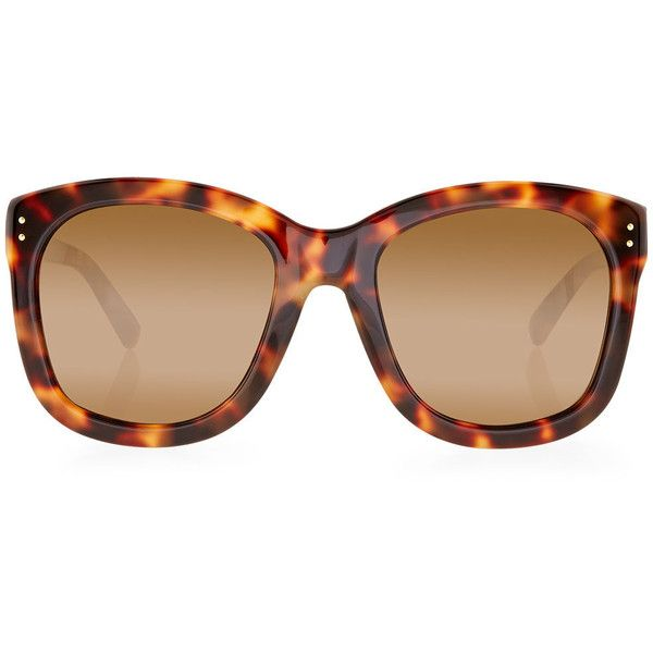 c880247736 Linda Farrow Tortoiseshell Oversized Square Sunglasses ( 430) ❤ liked on  Polyvore featuring accessories