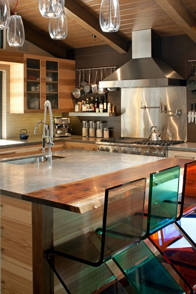 design kitchen italian%0A italian porcelain tile Kitchen Midcentury with acrylic seating acrylic  stools