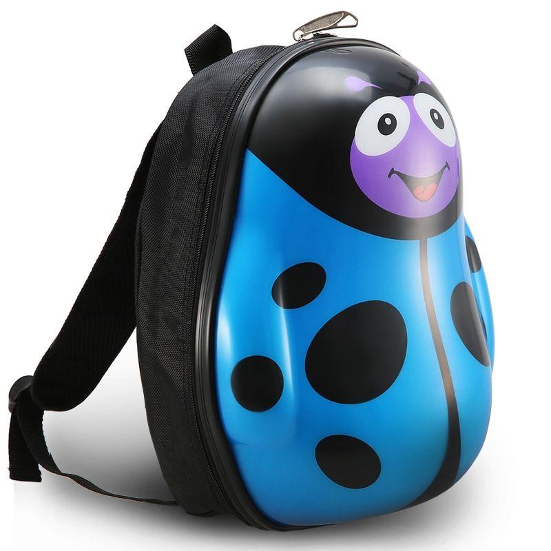 Personalized Ladybug Shaped Cute Animal Toddler Book Bag Azure Blue Black Zipper Durable Water