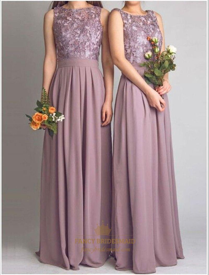 070447e7f1 FancyBridesmaid.com Offers High Quality Elegant Sleeveless Lace Bodice  Chiffon Bottom A-Line Bridesmaid Dress
