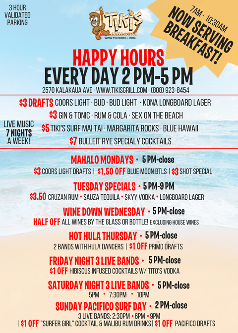 Happy Hour Specials At Tiki S Grill Bar In Waikiki Happy Hour Specials Oahu Vacation Maui Vacation