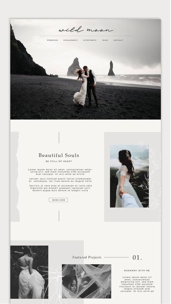 Less structured left right left right layout. But with the lines elements. Has serif fo… in 2020 | Photography website design, Wedding website design, Website design layout