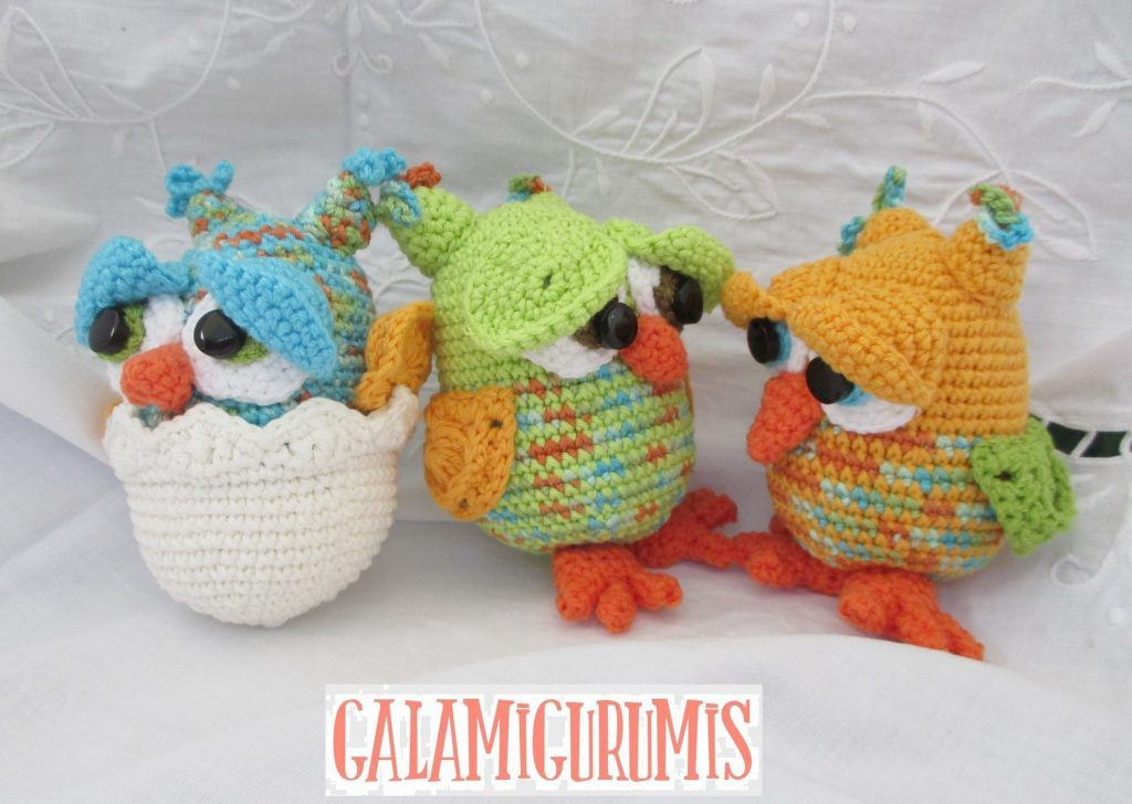 Amigurumi Patrones Gratis De Buho : Amigurumi búhos y bebe búho en su cascarón patrón gratis en