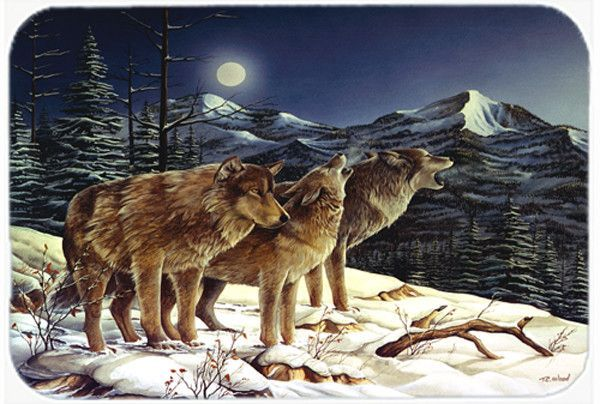 Wolf Wolves Crying at the Moon Glass Cutting Board