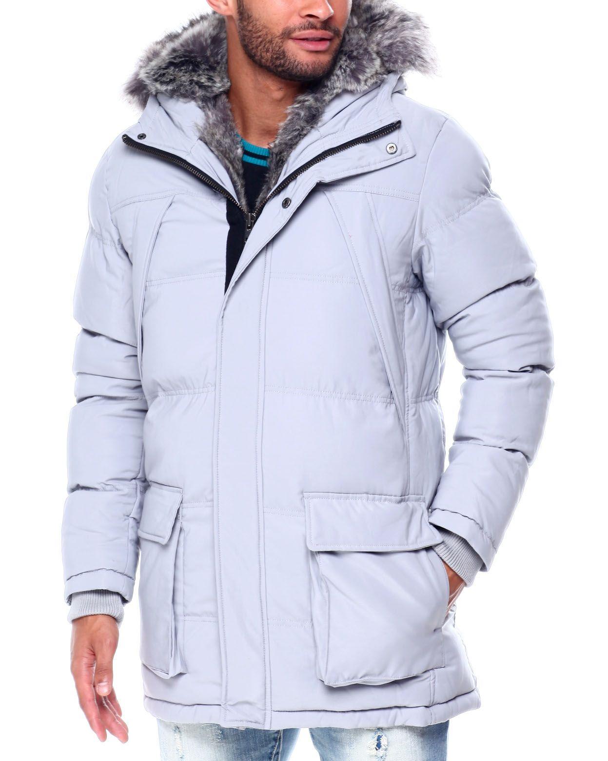 Buy Puffer coat w Faux Fur Trim Hood Men's Outerwear from