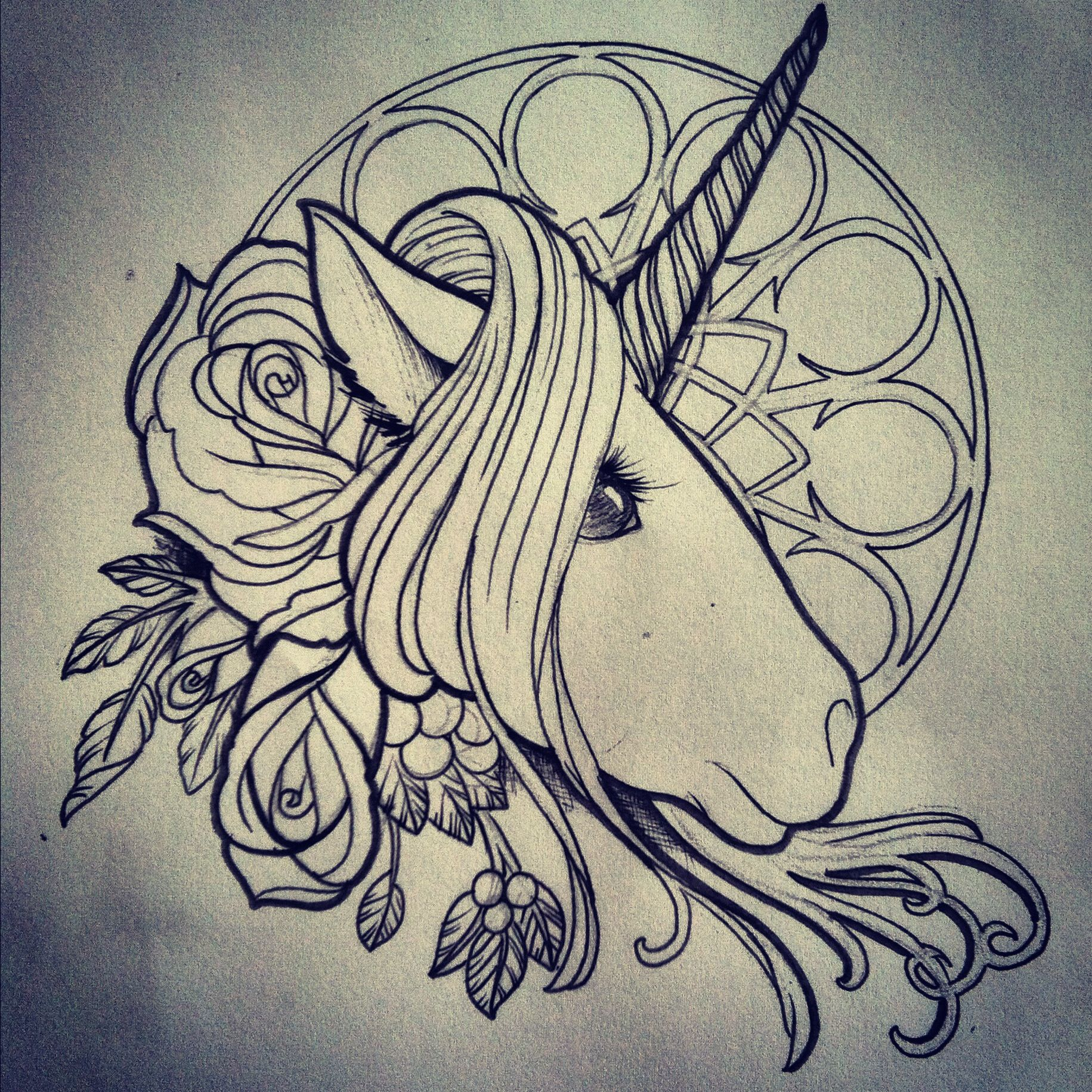 Fun unicorn drawing I did for a fellow artist Unicorn