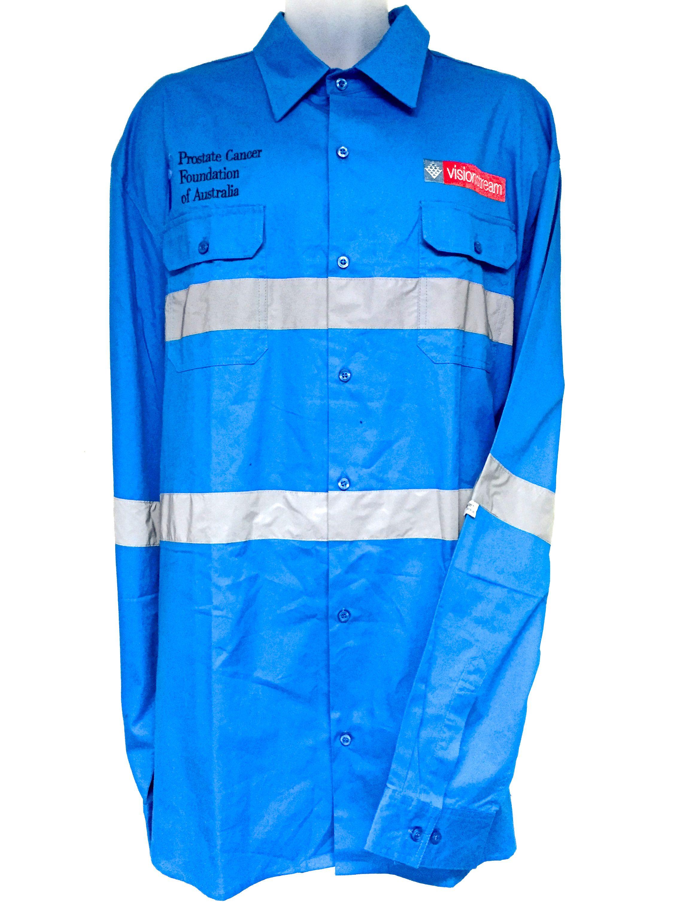 Cyan Blue Workwear Work Shirts Prostate Cancer Design Your Own Custom