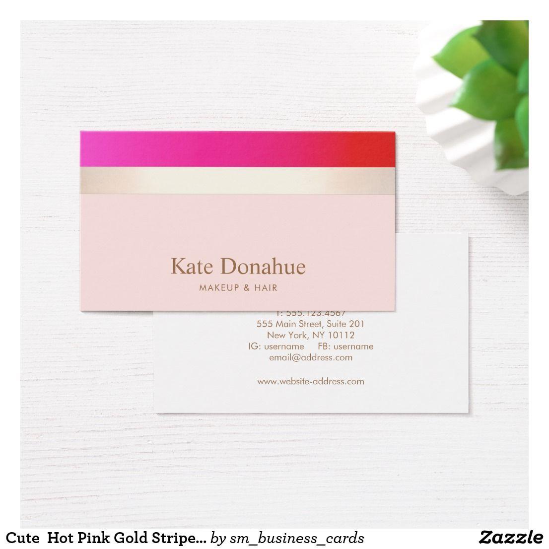 Cute Hot Pink Gold Striped Makeup Artist Business Card   Makeup ...