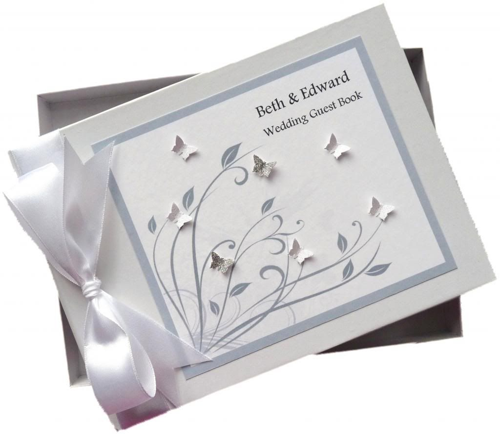 CLASSIC WHITE /& SILVER PERSONALISED WEDDING GUEST BOOK ~ SPARKLY BUTTERFLY
