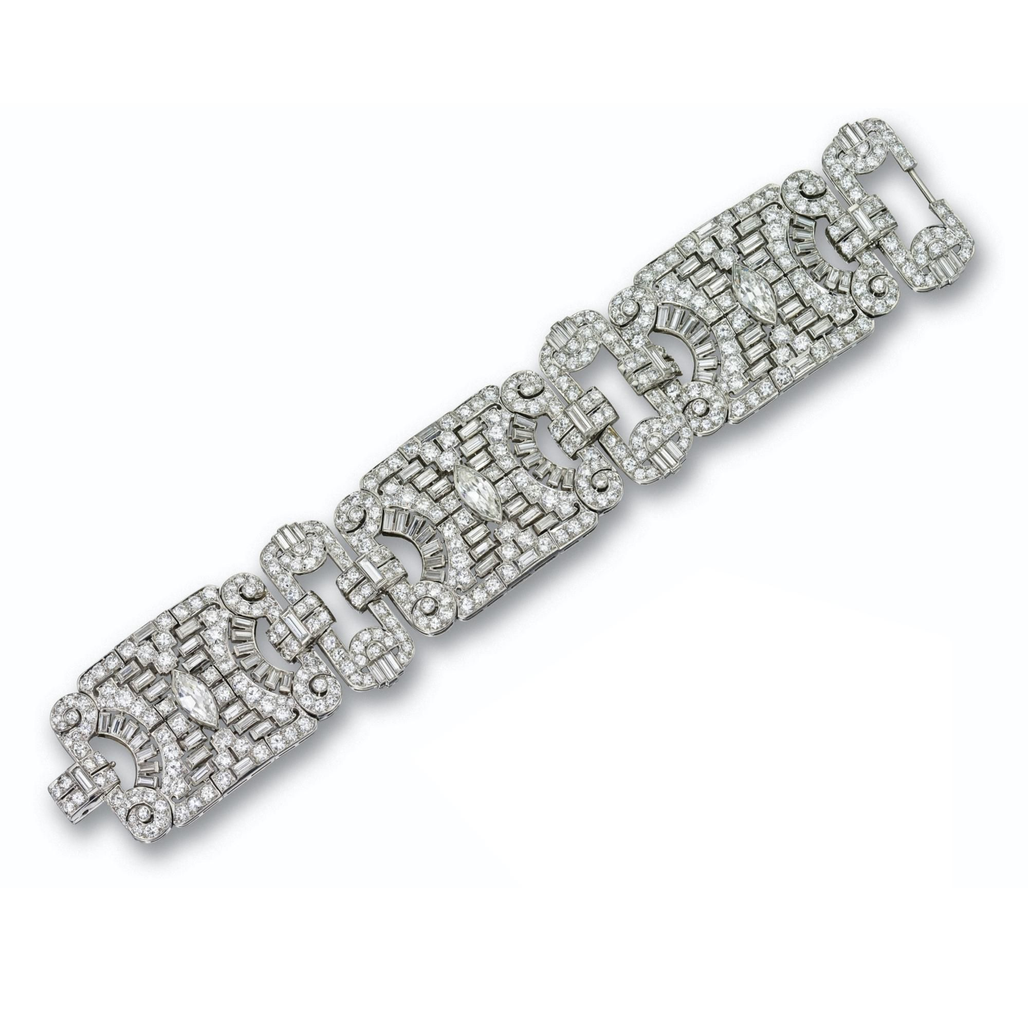 Art deco diamond bracelet circa composed of three articulated