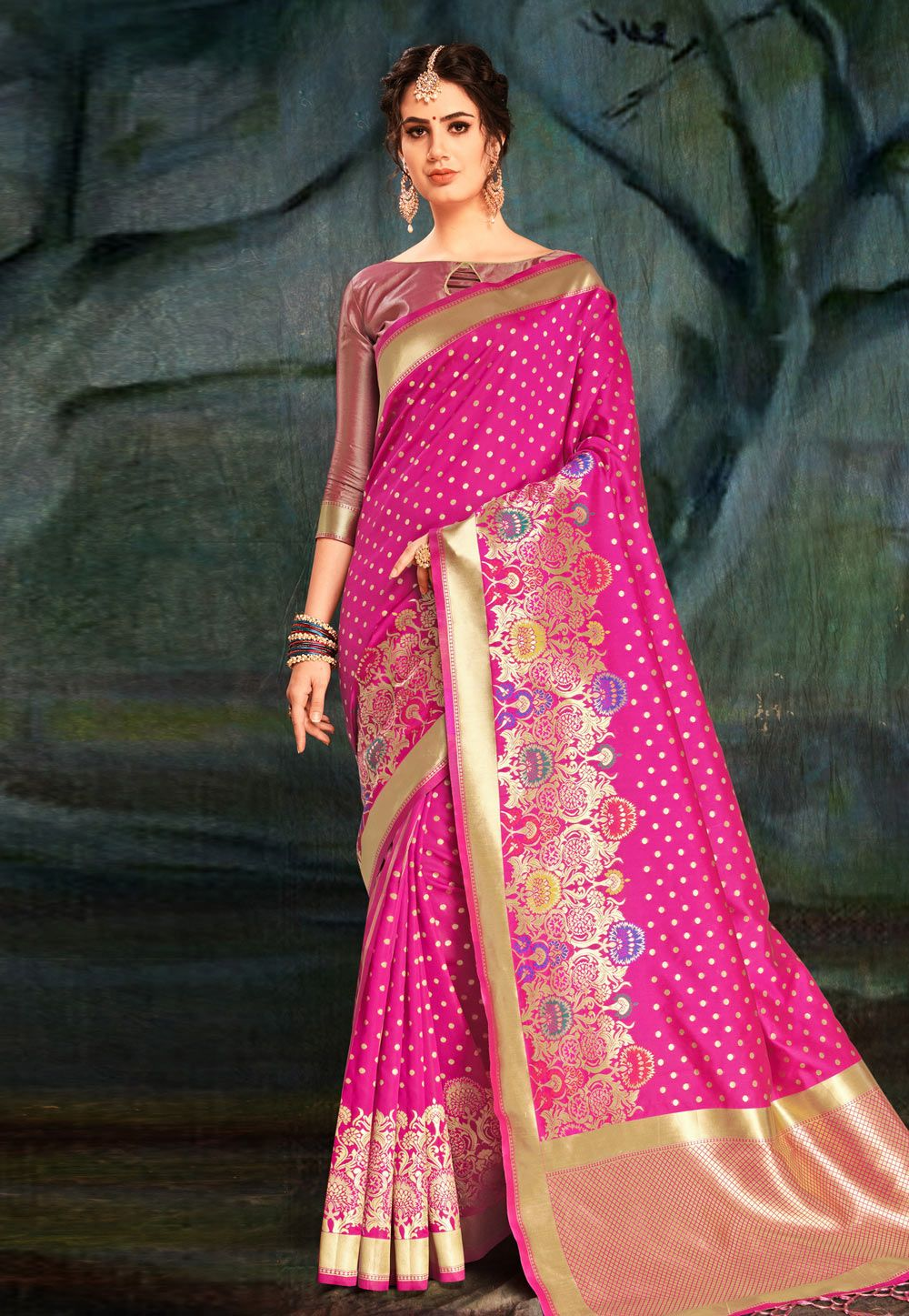 109e64836e26b3 Buy Magenta Banarasi Silk Festival Wear Saree 161650 with blouse online at  lowest price from vast collection of sarees at Indianclothstore.com.