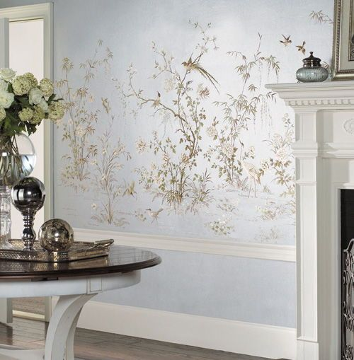 Silver Leafed Chinoiserie Wall Mural MURA1001 Designer
