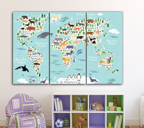 World Animal Map Kids Room Art Nursery Art Kids Room Canvas
