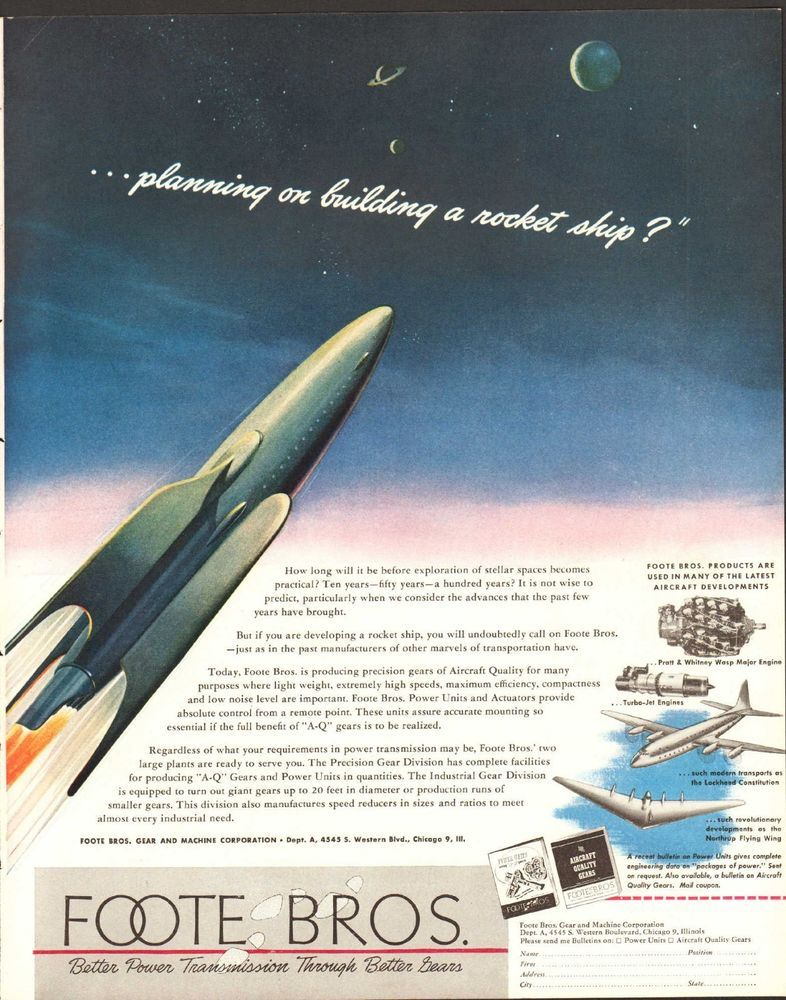 1947 Ad Foote Bros Gear Machine Rocket Ship Space Art Print Ad