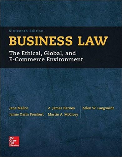 Business law 16th edition by jane mallor isbn 13 978 0077733711 isbn 13 978 0077733711 ebookdownloadable pdf test bank and solution manual available for sale fandeluxe Image collections