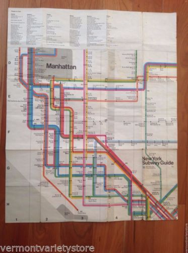Massimo Vignelli Subway Map 1978.New York Subway Map Guide Massimo Vignelli Mta Nyc City 1978 Vintage